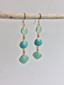 Amazonite graduated Earrings, hanging