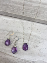Amethyst Droplet Necklace & Amethyst Wrapped Earrings