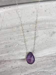 Amethyst Droplet Necklace, Sterling silver