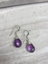 Amethyst wrapped Earrings, sterling silver