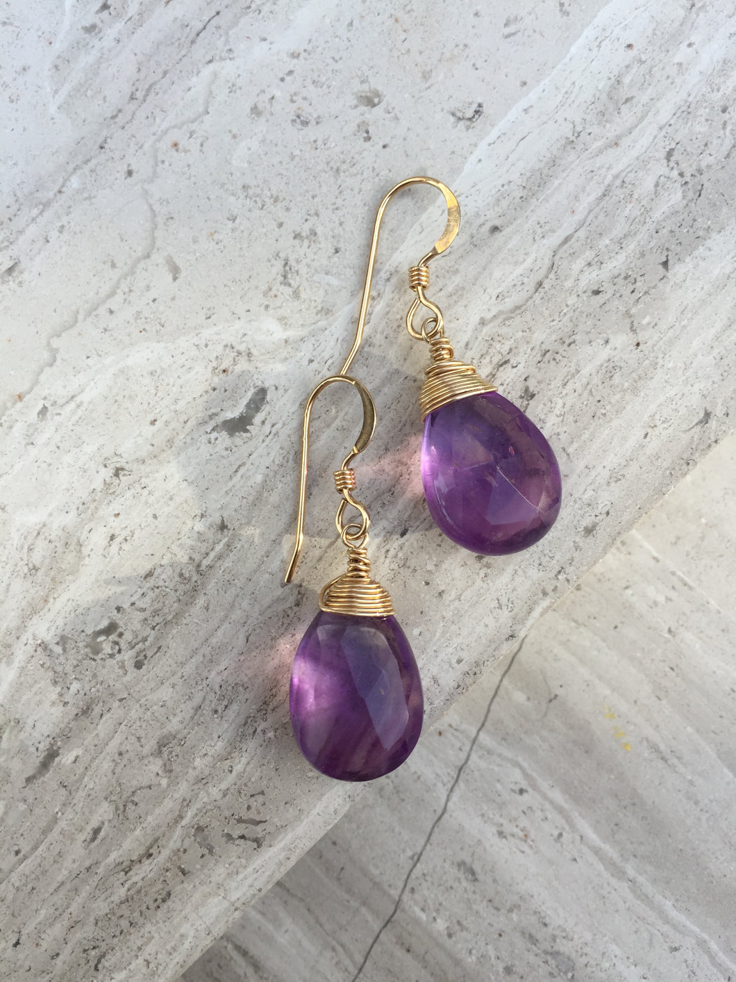 Amethyst Wrapped Earrings gold