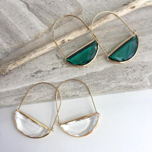 Crescent Hoop Faceted Glass Earrings
