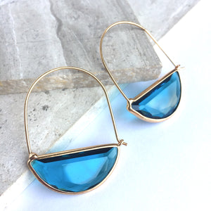 Crescent Hoop Faceted Blue Glass Earrings