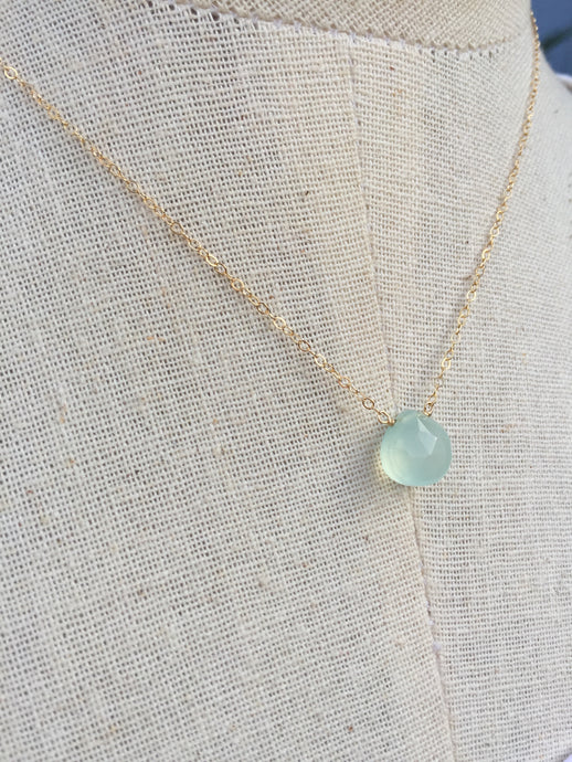 Aqua Chalcedony droplet Necklace gold