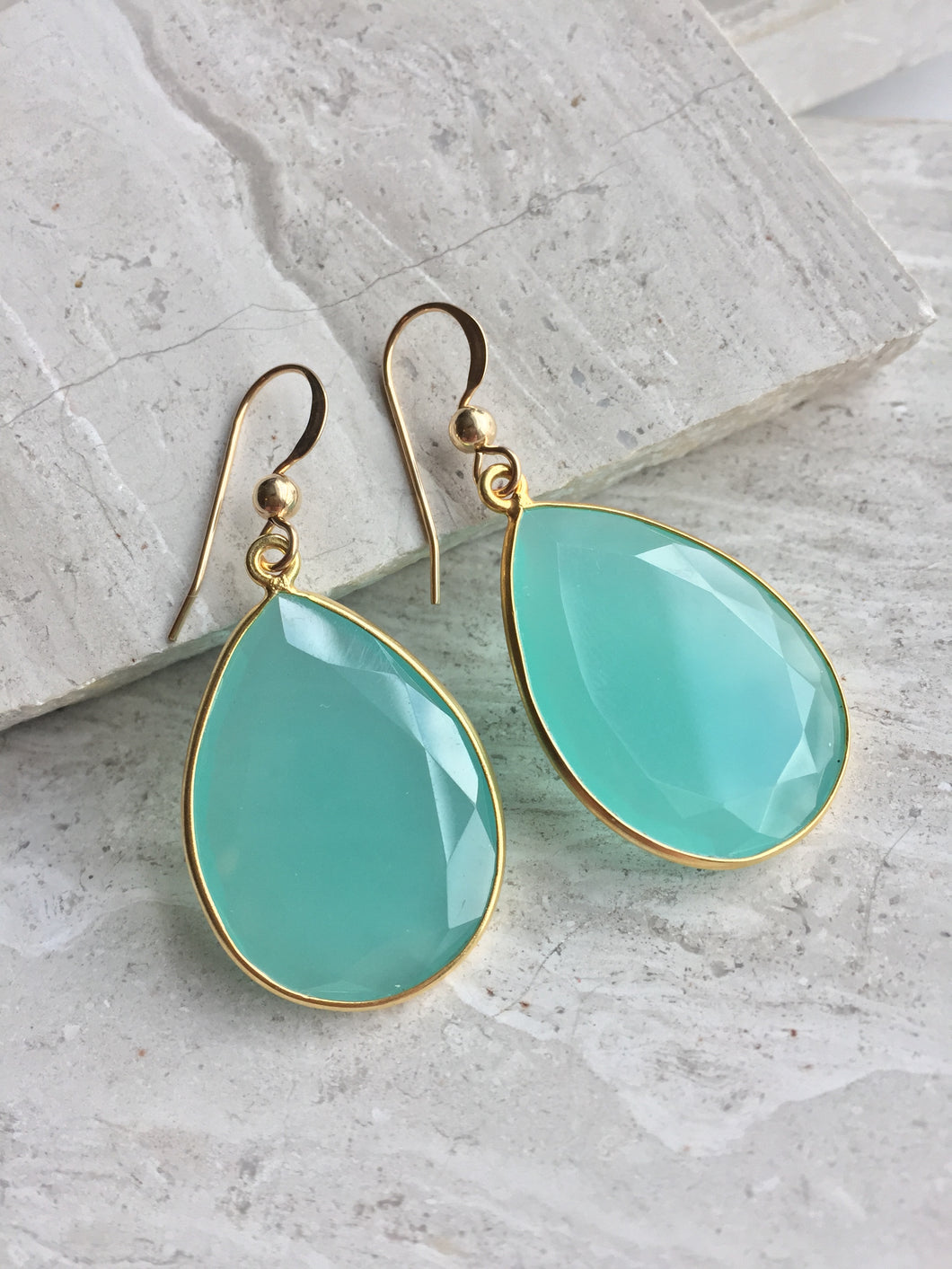 Reflection Earrings — Aqua Chalcedony