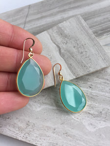Reflection Earrings — Aqua Chalcedony, in hand