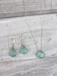 Aqua Chalcedony droplet necklace, sterling silver, with matching earrings