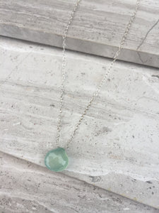 Aqua chalcedony droplet necklace, sterling silver