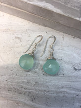 Aqua Chalcedony Wrapped Earrings, Sterling silver