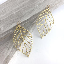 Big Brass Leaf cut out Earrings