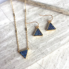 JPeace Designs JPeace Designs Blue Druzy triangle Earrings & matching necklace