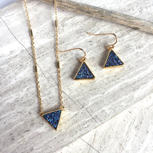 JPeace Designs Blue Druzy Triangle Pendant — Gold Chain Necklace & matching earrings