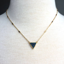 JPeace Designs Blue Druzy Triangle Pendant — Gold Chain Necklace
