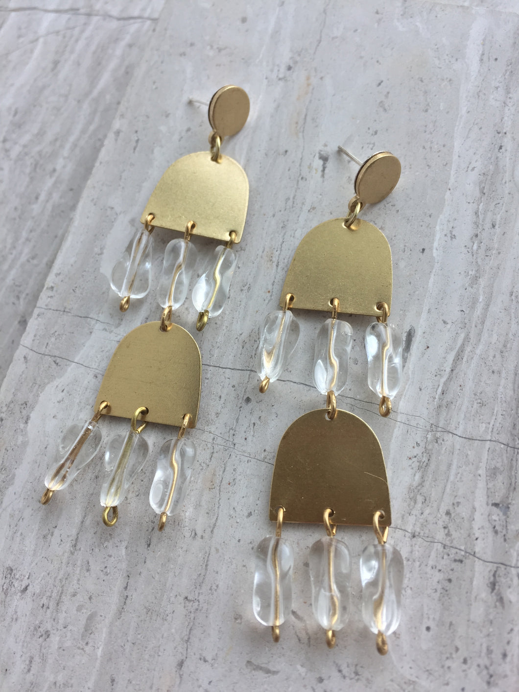 Brass and Clear Glass Fringe— Post Earrings