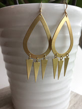 Brass Hoop Trio Triangle Earrings, hanging