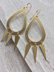 Brass Hoop Trio Triangle Earrings