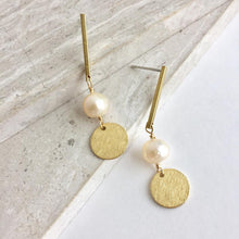 Brass Line with Pearl & Coin Earrings