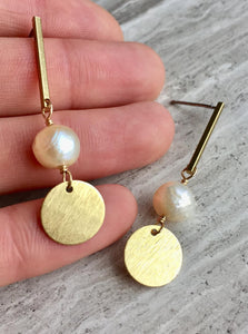 Brass Line with Pearl & Coin Earrings, in hand