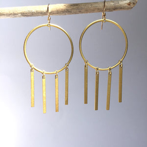Brass Hoop Earrings w/ 4 bar dangles