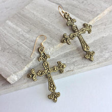 Bronze Cross Charm Earrings