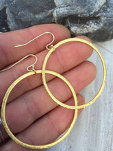 Brushed Hoop Earrings , gold