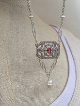 CZ Art Deco Pendant Necklace, cranberry
