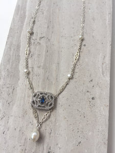 CZ Art Deco Pendant Necklace, blue