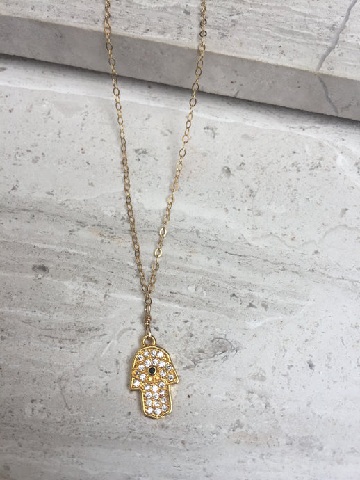 CZ Hamsa Charm Necklace, gold