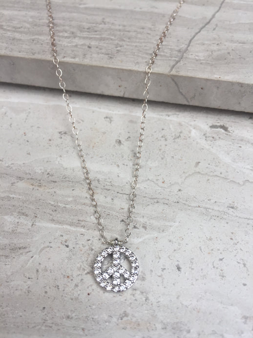 CZ Peace Charm Necklace, sterling silver