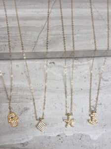 CZ Charm Necklaces Gold— Hamsa, diamond, starfish, anchor