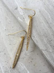CZ Pod Earrings, gold