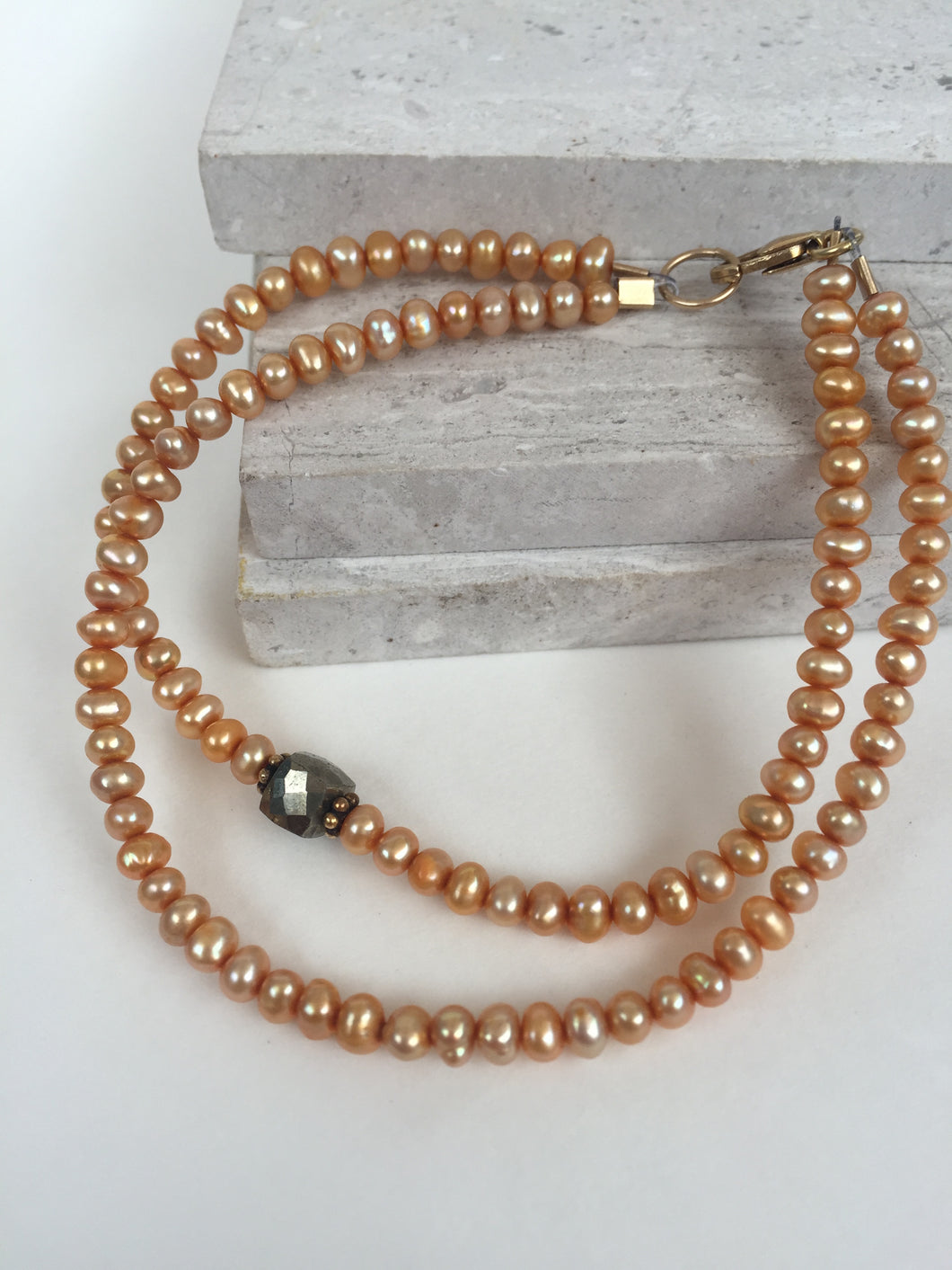 Caramel Pearl and Pyrite Bracelet