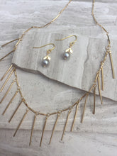 Chevron Pearl Earrings, with fringe necklace, gold