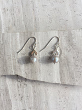 Chevron Pearl Earrings, silver