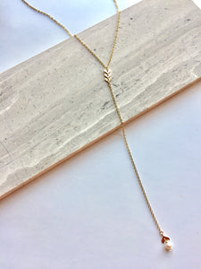 "Chevron & Peal ""Y"" Necklace"
