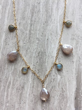 Chocolate Moonstone & Labradorite lentil Necklace on tile