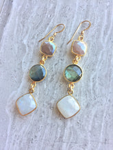 Long moonstone & Labradorite Earrings