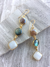 Long moonstone & Labradorite Earrings, on tile