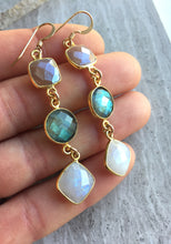 Long moonstone & Labradorite Earrings, in hand