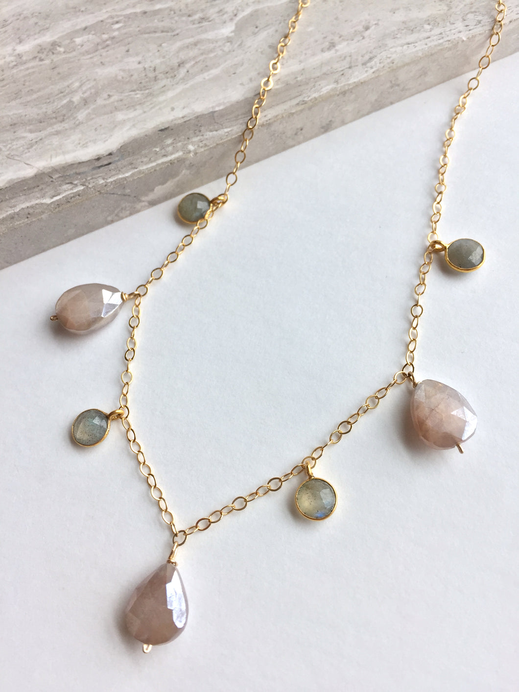 Chocolate Moonstone & Labradorite lentil Necklace