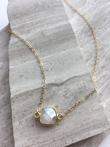 Chocolate Moonstone Square Necklace