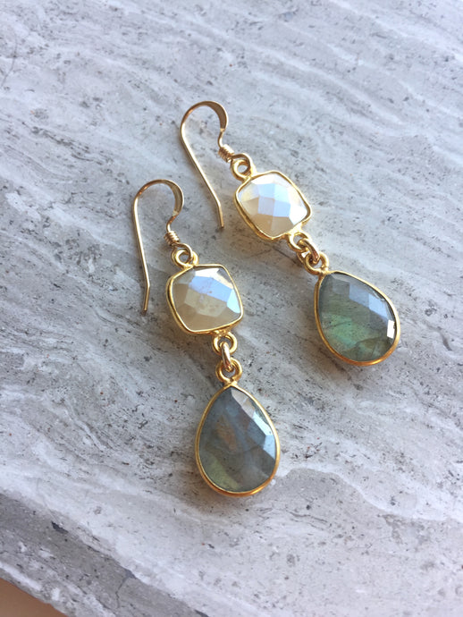 Chocolate Moonstone and Labradorite Earrings