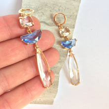Clear & Blue glass long stone prong set Earrings