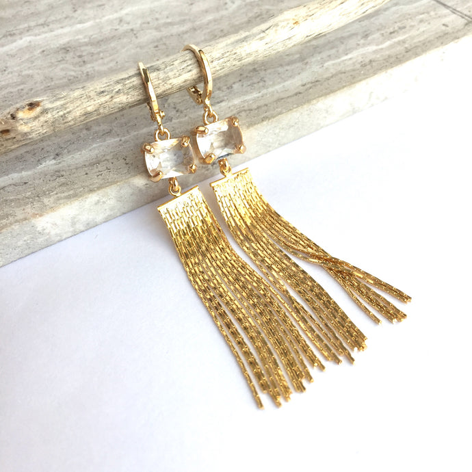 Clear prong set crystal chain tassel earrings