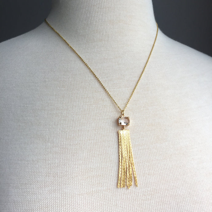 Clear Crystal & Gold Chain Tassel Necklace