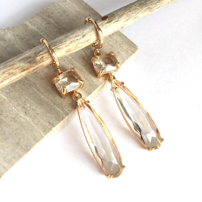 Clear Glass Long drop prong set stone Earrings