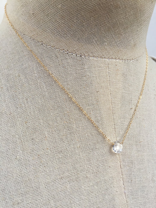 Clear Quartz Crystal Droplet Necklace gold