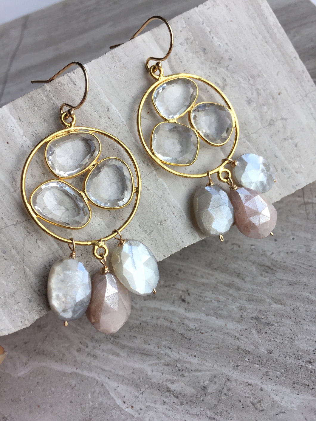 Clear Quartz trio & Chocolate Moonstone drops Earrings