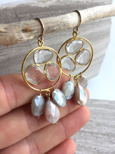 Clear Quartz trio & Chocolate Moonstone drops Earrings, hanging