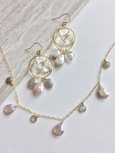 Clear Quartz trio & Chocolate Moonstone drops Earrings, with necklace